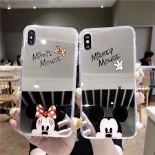 Lindo Espejo Mickey Minnie suave caso fr iPhone 11 Xr X 8 7 6 Funda de dibujos de Disney