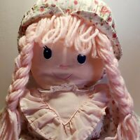 "Cuddle Wit Cloth Doll Vintage Pink Yarn Hair 17"" Floral Dress Roses"