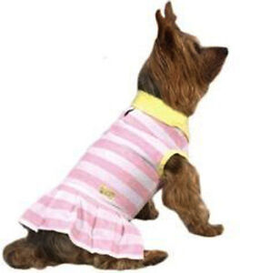 ZACK ZOEY Dog Clothes Clothig Striped Pink White Yellow Polo Dress Skirt X SMALL