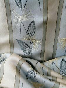 BROKAT JACQUARD Stoff Vorhang Gardine blau/ grün mit Gold-u.Silberfäden
