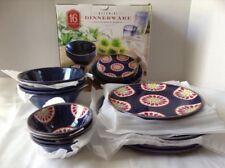 16 Piece Melamine Dinnerware Set Indoor Outdoor Blue Floral Design