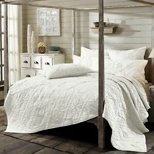 VHC Farmhouse Queen Quilt Bedding Pleated Pre-Washed Aubree Fog White Cotton
