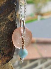 Salmon pink sea glass pendant & larimar charm silver necklace