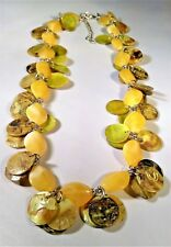Beachy Tropical Shell Necklace Dyed Abelone Chartreuse Green Lime Yellow Hawaii