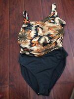 BEACH CABANA womens sz L Green one piece 1 pc swim bathing suit excellent