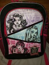 Monster High 16 inch Pink Black Kids School Backpack Zipper Pocket Monster