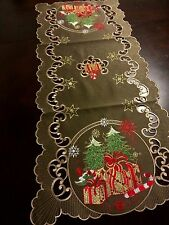 """16x36""""Embroidered Christmas Tablecloth Tree Gift Table Runner Holiday Home Decor"""