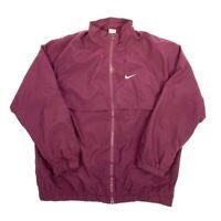 NIKE SWOOSH Mens Maroon Purple Windbreaker Jacket / Large Polyester VTG Y2K