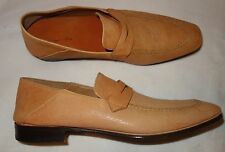 SERGIO ROSSI Men's Tan Leather Slip On Loafers Shoes Sz 8  NEW