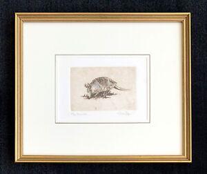 "Melanie Fain signed etching ""Armadillo"" ~ Texas artist"