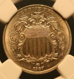 1867 No Rays Shield Nickel   NGC MS64