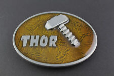 THOR HAMMER AMBER BELT BUCKLE AVENGERS  MARVEL COMIC BOOK MOVIE SUPERHERO