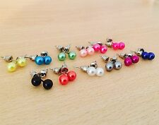 6mm pearl style earrings piercing stud ear costume jewellery ear lobe cheap fun