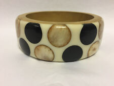 River Island Stunning Eye Catching Wooden Chunky Wide Bangle With Spots On