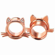 Ear Plugs Cat design with Clear Round Cubic Zirconia Double Flare Ear Tunnels 2G
