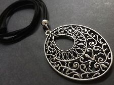 Long Black Suede Necklace With A Large Ethnic Tibetan Pendant Boho