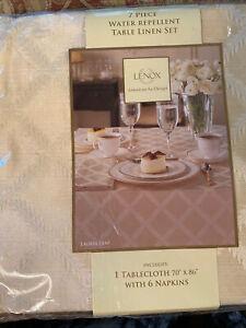 "Lenox Laurel Leaf Ivory Rectangular Tablecloth & 6 Napkins 70 x 86"" New"