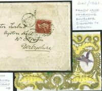 GB VICTORIAN VALENTINE Embossed QV SG.40 Cover 1861 Gloucester CARD BIRDS T76