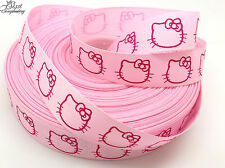 RUBAN GALON GROS GRAIN ROSE ET FUCHSIA HELLO KITTY NAISSANCE FILLE CAT COUTURE