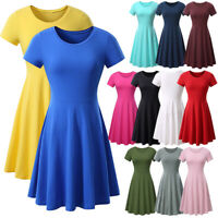 Women O-neck Short Sleeve High Waist Swing Skater A Line Casual Skirt Dress US