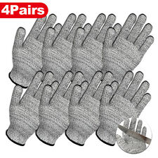 4 Pairs Level 5 Anti Cut Gloves Safety Cut Proof Stab Resistant Kitchen Butcher
