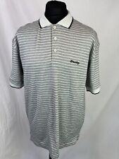 Dunlop Polo Top Men's Size Large Grey Stripe Golf RRP £29.99 Button Collar K902
