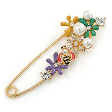 Safety Pin Brooch In Gold To Multicoloured Enamel Flowers, Bee, Simulated Pearls