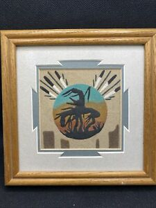 Authentic Navajo Native American Sandpainting Sand Art Framed Matted Signed
