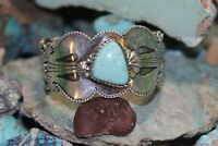 MARC BEGAY NAVAJO CUFF BRACELET #8 TURQUOISE, STERLING, SIGNED: MB