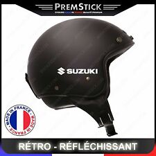 Kit 4 Stickers Retro Reflechissant Suzuki ref1; Casque Moto autocollant