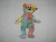 Ty Beanie Babies Peace - Swing Tag & Tush Tag Errors - Bright Rainbow Colors!
