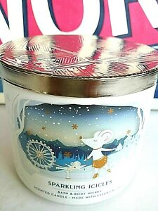 Bath and Body Works SPARKLING ICICLES 3-Wick Candle 14.5 OZ ** NEW **