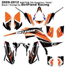 "Raptor 700 Graphics 09-12 DFR ""Twist"" Black/Orange Full Wrap Raptor700 ATV"