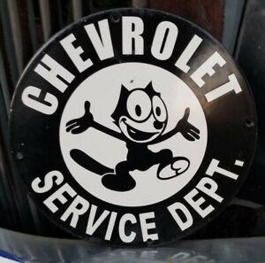 CHEVROLET SERVICE FELIX PORCELAIN SIGN GAS OIL SHOP GARAGE CAT REPAIR