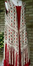 Umgee USA Casual bohemian crochet Cardigan- sleeveless-Taupe mix Colors-Large