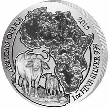 2015 Rwanda Cape Buffalo African Ounce 1 Oz Fine Silver 999 Bu Coin Low Mintage
