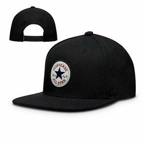 CONVERSE MENS BASEBALL CAP.NEW BLACK COTTON ADJUSTABLE SNAPBACK FLAT PEAK HAT C