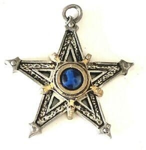 Pewter Pendant Gothic Alchemy Carta 1992 UK Made STAR Blue Stone worn by RAVEN