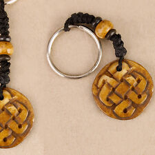 Carved Celtic Knot Keyring Charm Beads Wooden Pagan Wiccan Hippie Car Keys Boho
