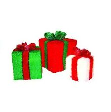 Chill-out Red Green and White 3-D Tinsel Christmas decoration Set Of 3
