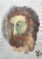 Aquarell Vera Stoss Porträt Expressiv Kopf Mann Bart Modern Art Mid Century