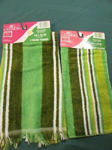 Vintage CANNON Hand Towel & Washcloth Set New With Tag NOS Green Stripe