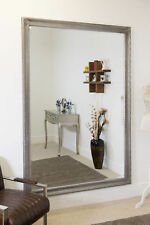 Large Silver Antique Wood Wall Mounted Mirror 6Ft7 X 4Ft7 201 x 140cm
