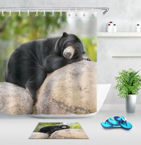 Sleeping Black Bear Shower Curtain Waterproof Fabric Animal Bathroom Mat Set