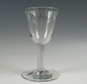 Antique Free Blown Wine Stem with Incised Stem 18th Century