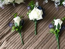 Scottish Wedding  Buttonhole Package Thistle & Roses Tartan Ribbon & Lavender