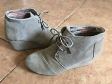 Toms Beige Suede Leather DESERT WEDGE Ankle Boots US 8.5