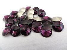 12 Amethyst Foiled Swarovski Crystal Rivoli Stone 1122 39ss 8mm