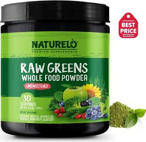 NATURELO Raw Greens Superfood Powder - Unsweetened - 30 Servings