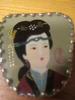 Antique Porcelain Geisha Trinket Jewelry Box Ornate Handmade Silver Metal Case